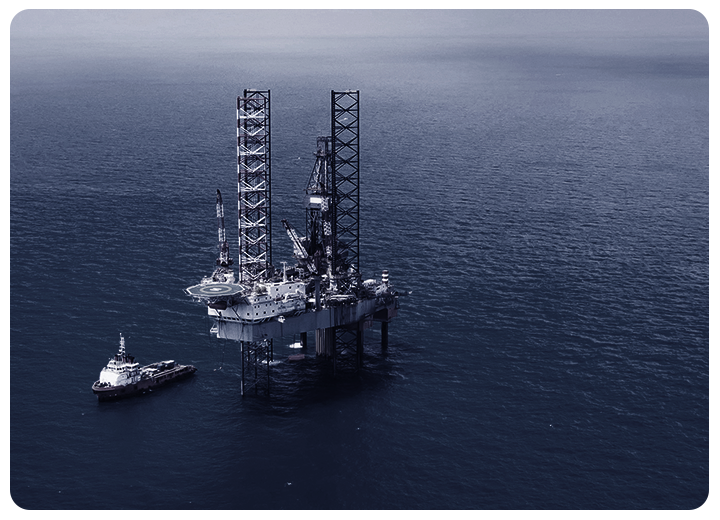 security application - oil rig in the ocean