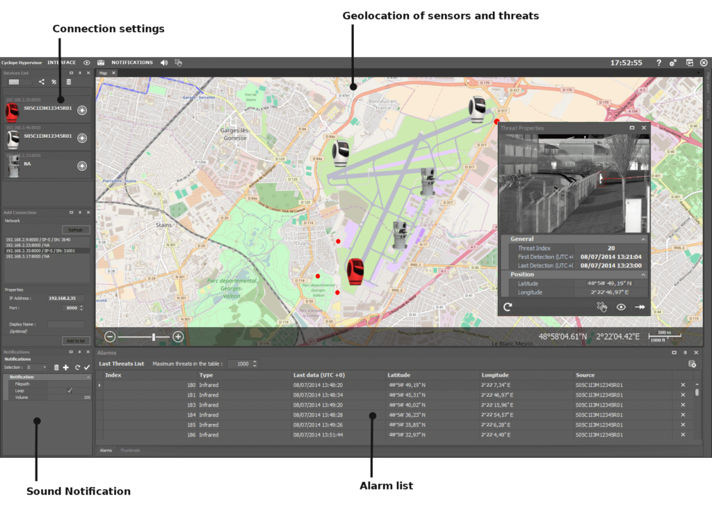 Cyclope Hypervisor screenshot with alarm list, settings, geolocation of sensors and threats