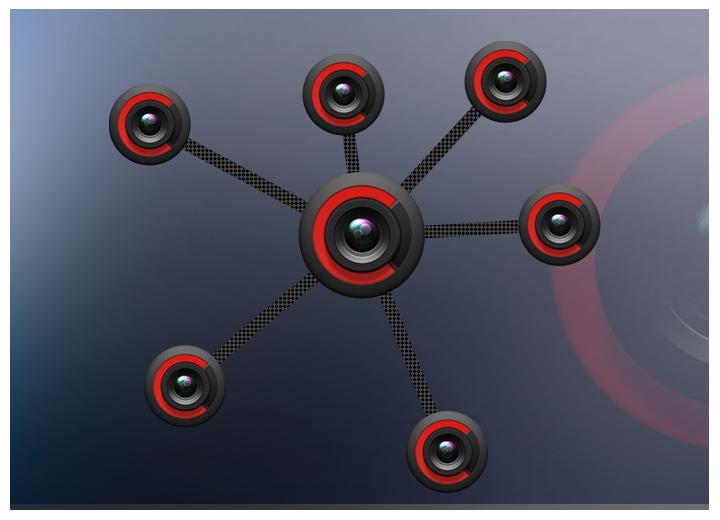 web of cameras concept